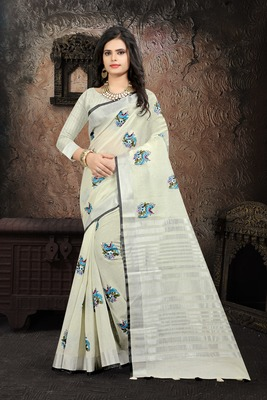 Off white Color Linen embroidery Saree
