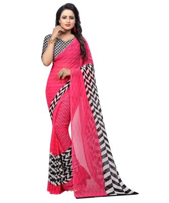 Pink Printed Georgette Silk Saree With Blouse