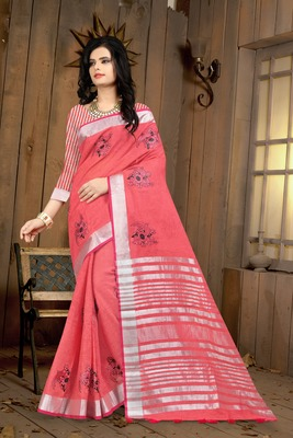 Pitch Color Linen Embroidery work Saree