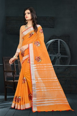 Orange Color Linen Embroidery Saree