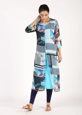 Blue printed georgette kurtas-and-kurtis