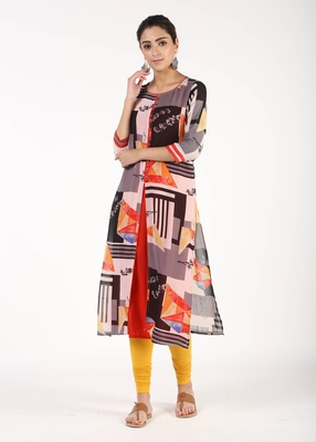 Red printed georgette kurtas-and-kurtis