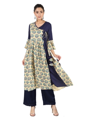 Cream printed cotton kurtas-and-kurtis