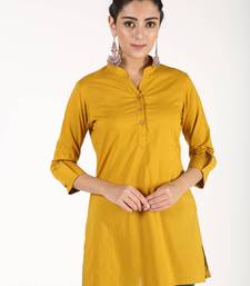 Mustard printed cotton kurtas-and-kurtis
