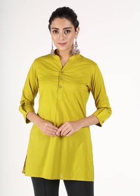 Green plain cotton kurtas-and-kurtis