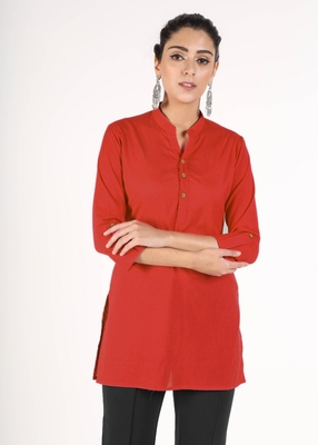Red plain cotton kurtas-and-kurtis
