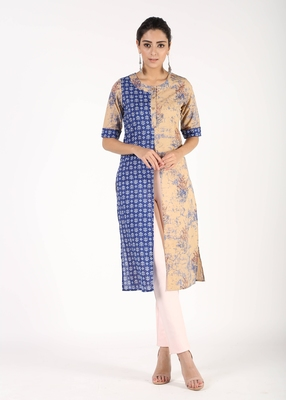Beige printed cotton kurtas-and-kurtis