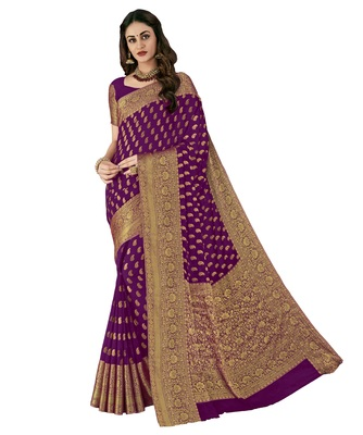 Purple woven chiffon saree with blouse
