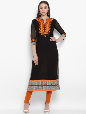 Black embroidered rayon kurtas-and-kurtis