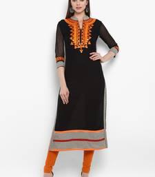 Black embroidered rayon kurtas-and-kurtis