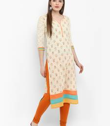 Off white printed cotton kurtas-and-kurtis
