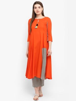 Orange printed rayon kurtas-and-kurtis