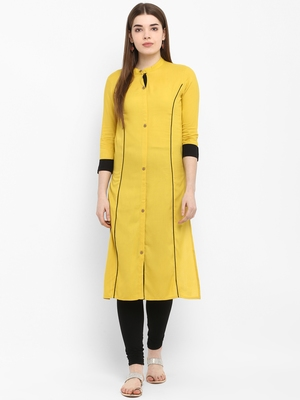 Mustard plain rayon kurtas-and-kurtis