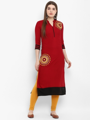 Maroon embroidered rayon kurtas-and-kurtis