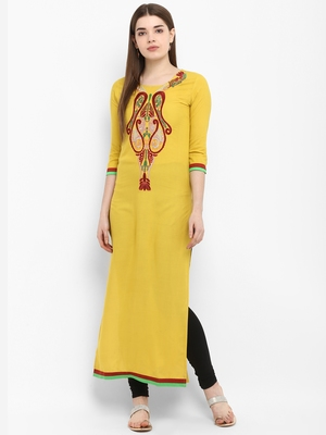 Mustard embroidered rayon kurtas-and-kurtis