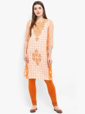 Orange printed cotton kurtas-and-kurtis