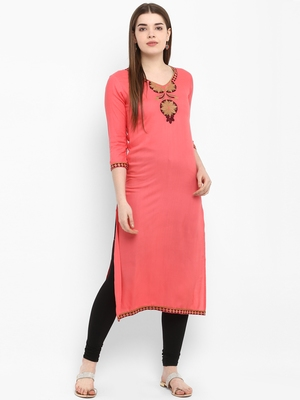 Peach embroidered rayon kurtas-and-kurtis