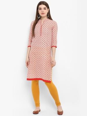 Red printed cotton kurtas-and-kurtis