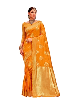Orange woven silk saree with blouse