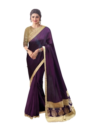 Purple embroidered bengal handloom saree with blouse