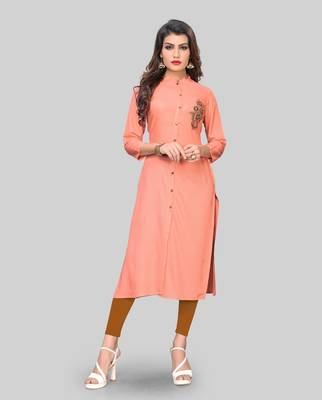 Peach embroidered rayon ethnic-kurtis
