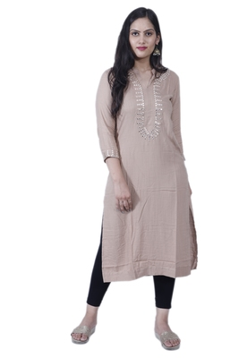 Women's Straight Contemporary Style Beige Rayon Kurta with Mirror Embroidery