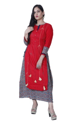 Women's Red A-line double layered Cotton Kurta with Creative Handwork & Funda
