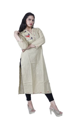 Women's Designer Straight Beige Cotton Kurta with Unique Handwork