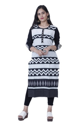 Women's Black & White Straight Contemporary Style Embroidered Cotton Kurta