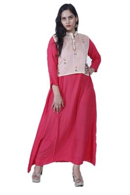 Women's Pink Choli, A-line Chanderi Kurta with Hand embroidered Mirror Work