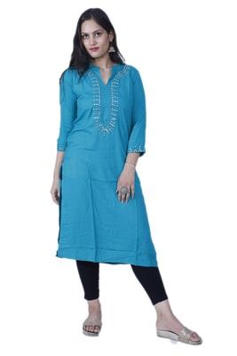 Women's Blue Straight Rayon Kurta with Mirror Embroidery