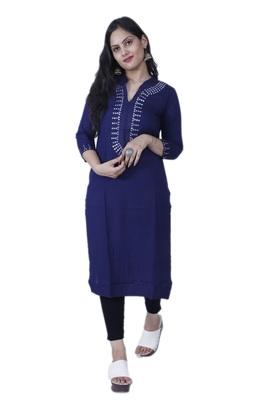 Women's Dark Blue Contemporary Style Rayon Straight Kurta with Mirror Embroidery