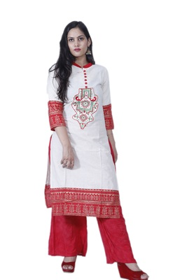 Women's White & Red Designer Cotton Kurta with Hand Woven Work