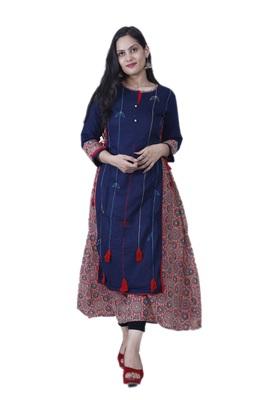 Women's Dark Blue A-line Double Layered Cotton Kurta with Innovative Handwork & Funda