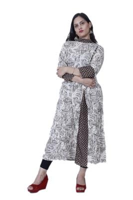 Women's Designer Off-White/ Brown Printed A-line Frill Cotton Kurta