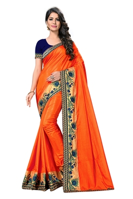 Orange embroidered poly silk saree with blouse