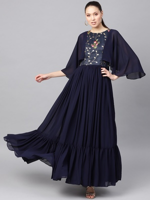Navy Blue Georgette Embroidered Maxi Dress