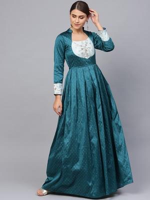 Teal Blue Silk Blend Embroidered Maxi Dress