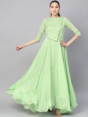 Light Green Silk Blend Embroidered Maxi Dress