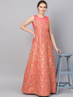 Pink Silk Blend Embroidered Maxi Dress