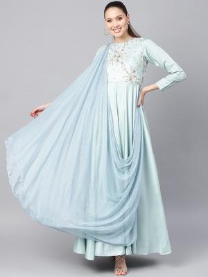 Powder Blue Silk Blend Embroidered Maxi Dress