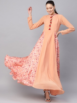 Peach Georgette Digital Printed Maxi Dress