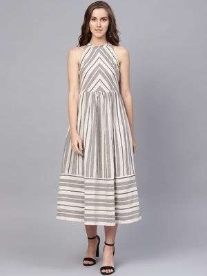 Off White & Grey Cotton Striped Midi Dress