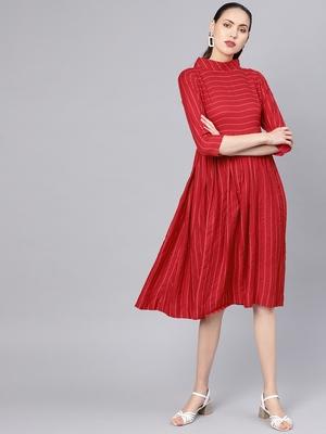 Red Cotton Striped Flared Midi Dress