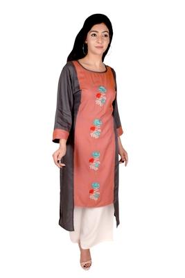 Women's Designer Grey & Orange Floral Embroidered Straight Kurti
