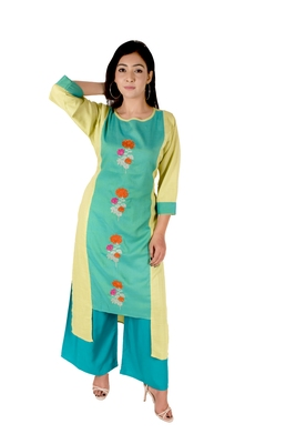Women's Designer Luminious Green Floral Embroidered Straight Kurti