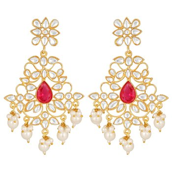 Excellent Designer  Gold Plated Pink Stone Dangle Earring For Women