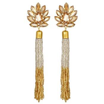Modern Designer Gold Plated crystals stone Long Dangle Earring For Women