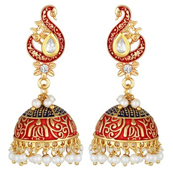 Traditional Designer Peacock Jhumki Earrings For Women