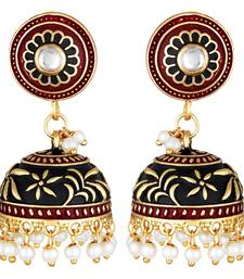 Traditional Wear Oxidised Gold Plated Jhumki Earrings For Women And Girls
